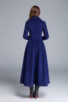 Winter coat blue coat wool coat long wool coat fit and Winter Coats Women, Coats For Women, Fit And Flare Coat, Long Wool Coat, Blue Coats, Women's Coats, Coat Dress, Maxi Coat, Fashion Dresses