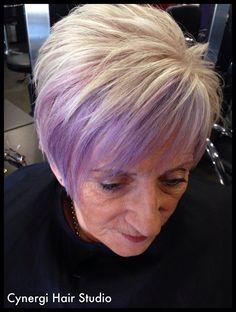 Blonde, pastel,  pink, purple, short textured concave crop,  Cynergi hair studio Dalby