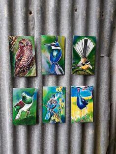 six small art panels of birds New Zealand Art, Kiwiana, Panel Art, Bathroom Art, Small Art, Outdoor Art, Tile Art, Silk Painting, Garden Art