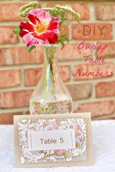 DIY Burlap Table Numbers