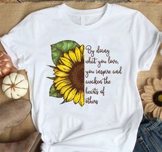 Sunflower T Shirt - Hityourstyle Fabric Paint Shirt, T Shirt Painting, Crazy Outfits, Painted Clothes, Teacher Shirts, T Shirts For Women, Clothes For Women, Direct To Garment Printer, Short Sleeve Tee