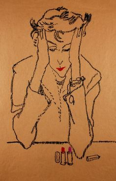 Woman contemplating lipstick - Jack Potter American Conté on paper, x 46 cm. Museum of Fine Arts, Boston. …really , really very hard to choose :) Fashion Sketchbook, Fashion Drawings, Fashion Sketches, Human Art, Portrait Illustration, Typography Prints, Museum Of Fine Arts, Famous Artists, Vintage Prints