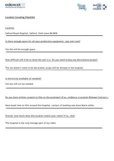 Location scouting checklist by mulligan1, via Slideshare