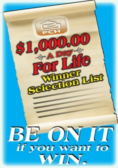 Make sure you're on PCH's Winner Selection List! Online Lottery, Win For Life, One Million Dollars, Congratulations To You, Publisher Clearing House, Online Sweepstakes, Winning Numbers, Keep The Faith, God Loves You