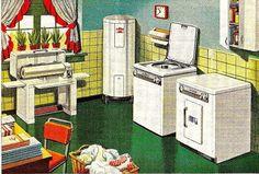 "Laundry-Room"" by Madonovan, Vintage Interior Design, Antique Interior, Vintage Interiors, 1940s Decor, Vintage Decor, Vintage Art, 1940s Home, Retro Home, Vintage Laundry"