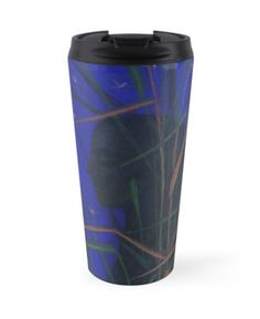 """""""""""The Night"""", midnight, stars, woman figure in the grass, ultramarine blue & green"""" Travel Mugs by clipsocallipso 