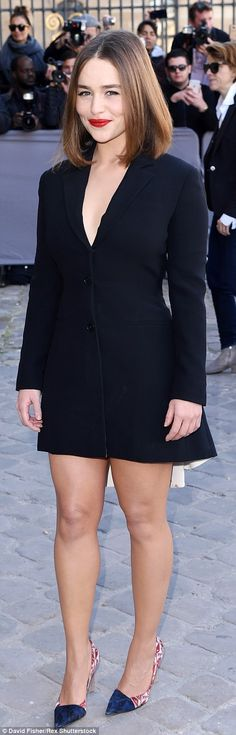 Suited and booted: Game Of Thrones actress Emilia Clarke looked incredible in a blazer dre...