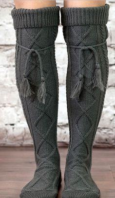 Alpine Thigh High Slouch Boot Socks Charcoal Gray Tie Top Tassels Thick Boho Diamond Cable Knit Fold Down Cuffs Over The Knee Thigh High Thigh High Socks, Thigh Highs, Fall Winter Outfits, Autumn Winter Fashion, Cable Knit Socks, Boho Boots, Outfit Look, Boot Socks, Fun Socks