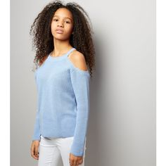 New Look Teens Pale Blue Ribbed Cold Shoulder Jumper (£18) ❤ liked on Polyvore featuring tops, pale blue, open shoulder long sleeve top, open shoulder top, long sleeve cut out shoulder top, blue cold shoulder top and cold shoulder tops