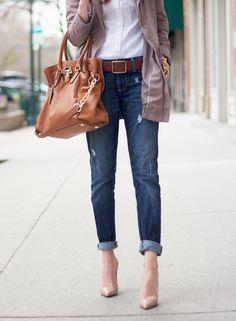 white button-down / rolled denim / cognac / neutrals / outfit