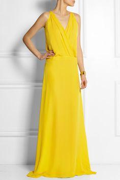 Mason by  Michelle Mason - Yellow washed-silk georgette