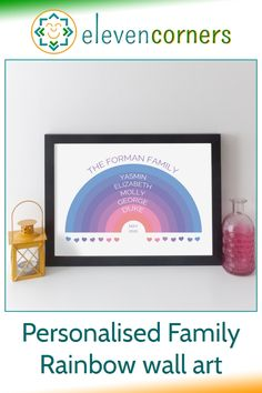 personalised family rainbow wall art - customise with the family names, surname and date. Unique personalised family gift idea. #elevencorners #rainbow #family #giftidea Personalised Prints, Personalized Wall Art, Personalized Gifts, Rainbow Family, Rainbow Wall, Family Wall Art, Family Print, Family Names, Family Gifts