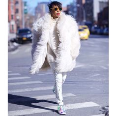 """Karen Blanchard (@KarenBritChick): """"When (literally) running daily at fashion week. The coat is a lucky Etsy find. Jeans are Iro and trainers are Nike Blazers!"""""""