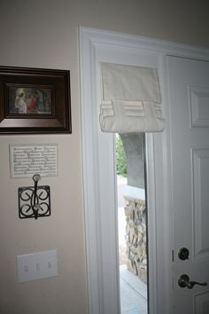 Sidelight Window Covering (Off White fabric pictured) Price is per panel Sidelight Curtains, Sidelight Windows, French Door Curtains, Front Doors With Windows, French Doors Patio, Window Curtains, Window Shutters, Valances, Door Window Covering