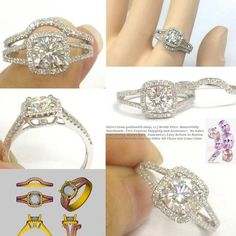 Round FB Moissanite Engagement Ring Sets Pave Diamond Wedding 14K White Gold 7mm