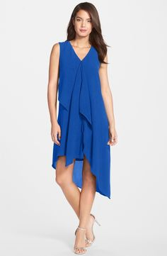 Middle to older ages. Main Image - Adrianna Papell Ruffle Front Crepe High/Low Dress (Regular & Petite)