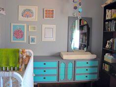 Kinda diggin the painted dresser/changing table Changing Table Dresser, Changing Tables, Changing Pad, Teal Dresser, Dresser Drawers, Dressers, Aqua, Turquoise, Nursery Inspiration