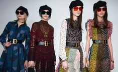 Models wear patched and knitted dresses with large size waist belts, ivy caps and sunglasses