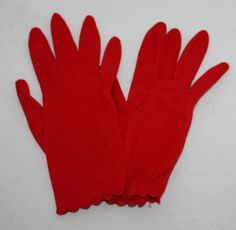 VINTAGE RED GLOVES | Vintage Women's Red Wrist Length Dress Gloves by Hansen, 1950's