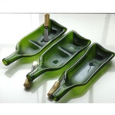 Melted Wine Bottle Glass Serving Dish with Cork Spreader