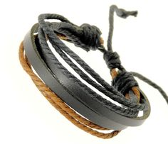 Neptune Giftware Mens Black Leather Double Strap & Black & Brown Coloured Cords Leather Bracelet / Leather Wristband / Surf Bracelet - 88  Price: $9.99