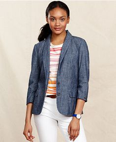 Tommy Hilfiger Jacket, Three-Quarter-Sleeve Chambray Blazer - Jackets & Blazers - Women - Macy's
