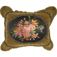 Antique Velvet Pillow w/Floral Needlepoint Petit Point & Metallic Trim