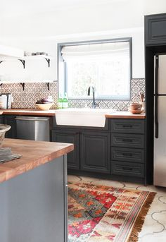 California Country_Kitchen_Emily Henderson_blue wood concrete tile open shelving causal_5