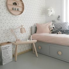 Grey and pale pink girl's room