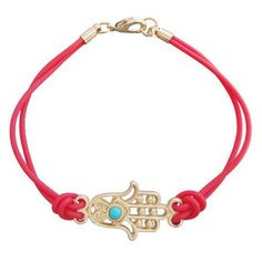 Red double string gold plated hamsa hand bracelet