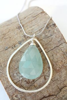 Moss. aquamarine blue soothing zen necklace handmade