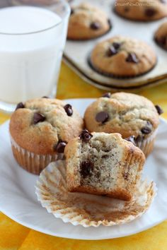 These Banana Chocolate Chip Muffins, are fluffy and full of chocolate chips. Plus, tips on how to create the perfect muffin every time!