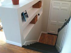 Built in shelves in a split level foyer found at http://www.pinterest.com/explore/split-foyer-entry/