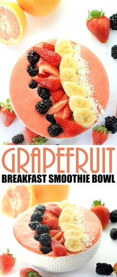 This Grapefruit Breakfast Smoothie Bowl recipe will help you get going with an energizing and filling breakfast packed with fruit.: