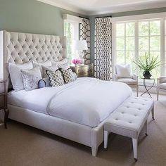 Gray Green Paint Colors, Transitional, bedroom, Benjamin Moore Iced Marble, Martha O'Hara Interiors