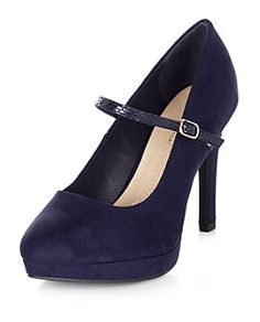 Navy Wide Fit Comfort Rainy Mary Jane Court Shoes    New Look