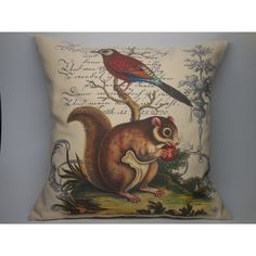 Squirrel and Bird Botanical Pillow Rustic French Farmhouse Shabby Chic... ($29) ❤ liked on Polyvore featuring home, home decor, throw pillows, black, decorative pillows, home & living, home décor, floral home decor, black throw pillows and black accent pillows