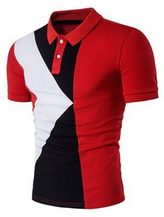 "Best Sale Shop - Buy ""Polo Shirt Men Polo Homme Patchwork Short Sleeve Brands Red Camisa Masculina Polo Hombre Polo Ralphmen Men Tops&Tees"" from category ""Men's Clothing"" for only USD. Slim Fit Polo Shirts, Polo T Shirts, Golf Shirts, Casual Shirts, Men's Polos, Collar Shirts, Camisa Polo, Casual Mode, Men Casual"
