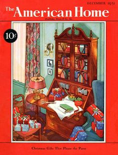 Art from: American Home A tall secretary-bookcase, full of books and letter mail, is open, with the writing platform being used to wrap Christmas presents. Artist: Seymour Snyder Source: the Antique Paper Shop Restoration by: magscanner Christmas Cover, Cozy Christmas, Vintage Christmas, Vintage Paper, Vintage Decor, 1930s Home Decor, Magazine Art, Magazine Covers, Retro Home