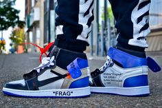 "NYのとあるシューズカスタマイザーが制作した Air Jordan 1 ""Virgil Abloh x fragment design x Nike"" Fly Shoes, Kicks Shoes, Men's Shoes, Shoes Style, Men's Style, Best Sneakers, Sneakers Fashion, Sneakers Nike, White Sneakers"