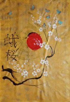 #Gold #Sakura #butterfly #Hieroglyph #painting 110×160 cm