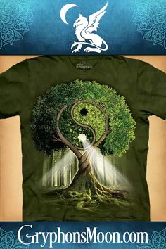 Yin/Yang Tree T-Shirt - Balance, harmony, and symmetry find their perfect expression in this eye-catching design by artist Michael McGloin. The shirts are hand-dyed, giving a unique background to every shirt, before being screen-printed with some of the most extraordinary artwork we have seen offered on clothing. The shirts are made of 100% cotton, and are pre-shrunk. They are printed with environmentally safe, water-based inks. #YinYang #YinYangTree #TShirt #EnvironmentallyFriendly #PaganShop Pagan Shop, Great Father's Day Gifts, Green Backgrounds, Yin Yang, Green And Brown, Shades Of Green, Light In The Dark, Cross Stitch Patterns, Screen Printing
