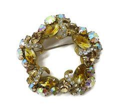 Golden Rhinestone Wreath Pin, Vintage Designer AB and White Rhinestone Brooch, Bridal Jewelry, Birthday Gift, Anniversary GIft