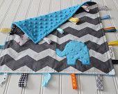 Adorbs/   Blue Minky Chevron Security Blanket - Personalized Sensory Baby Blanket - Monogram Tag Lovie. $24.00, via Etsy.