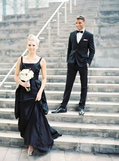 The Alice Tully staircase and a black wedding dress... glamourous! Photo by Jen Huang | lincoln center wedding photography