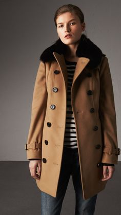 Wool Cashmere Trench Coat with Fur Collar in Camel - Women   Burberry Canada