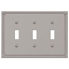 Imperial Bead Brushed Nickel Cast - 3 Toggle Wallplate