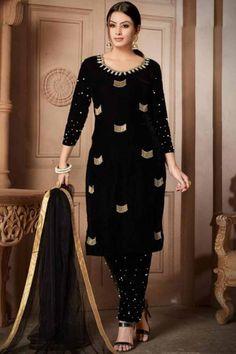 Buy Resham Embroidered Velvet Velvet Black Straight Pant Suit - Salwar Kameez for Women from Andaaz Fashion at Best Prices. Style ID: Designer Kurtis, Designer Salwar Suits, Fashion Pants, Fashion Dresses, Women's Fashion, Fashion Clothes, Indian Fashion, High Fashion, Fashion Jewelry