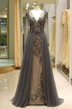 Elegant A Line V Neck Long Sleeves Tulle Grey Prom Dresses uk with Beading Prom Dress, Grey Prom Dress, Long Sleeves Prom Dress, A-Line Prom Dress, V-Neck Prom Dress Prom Dresses 2019 Grey Prom Dress, Prom Dresses Long With Sleeves, Unique Prom Dresses, Beaded Prom Dress, Prom Dresses With Sleeves, A Line Prom Dresses, Elegant Dresses, Beautiful Dresses, Party Dresses