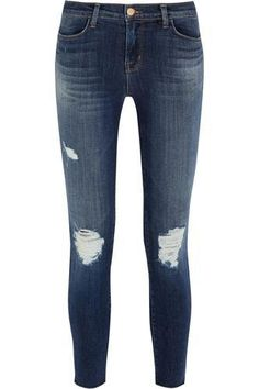 8226 mid-rise distressed skinny jeans #skinnyjeans #offduty #covetme #jbrand
